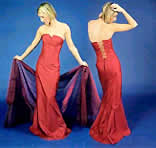 Style 'Iris' - A strapless boned bodice, the back is laced up & style 'Isabella', a long fitted 'fishtail' skirt, that also flares out slightly from the knee at the sides, which flares out to form a train - View this choice