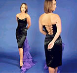 Celestina - A strapless, boned bustiere, with a wide scoop shaped neckline. The back is laced with narrow ribbon & Clara, a just-below-the-knee length, fitted skirt with a short vent (split) at the centre back - View this choice